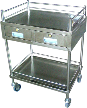 Stainless Steel Trolley Double - 2 Drawer