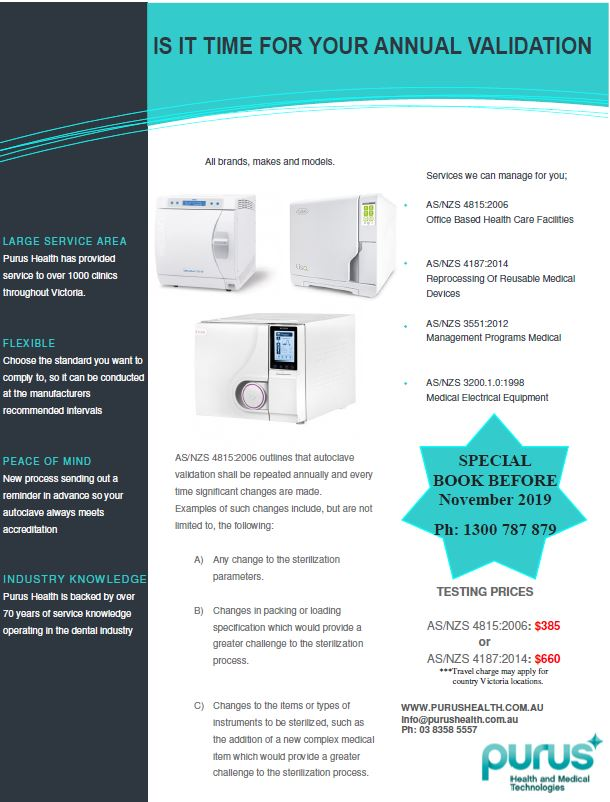 $385 Special price, Book in now for your annual Autoclave Validation